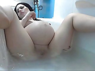 Pale White  Pregnant Babe in the Tub