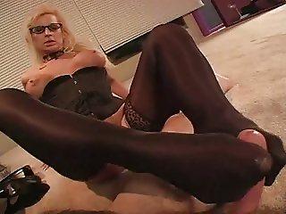 pov stockings footjob