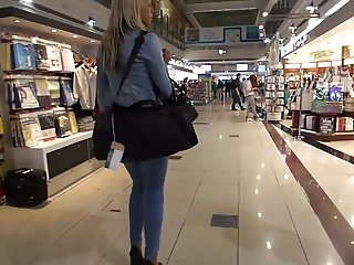 JEANS and HIGH HEELS on airport