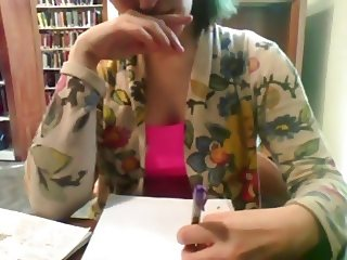 Bored college girl at their school library