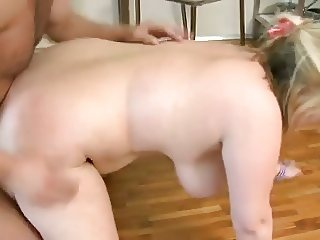 Chubby young blonde with big saggy tits fucked