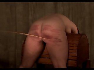 Short hard caning of plump bum
