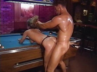 Sweaty Chick cums at pool table