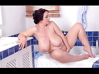 Natural big boobs busty girl shower time