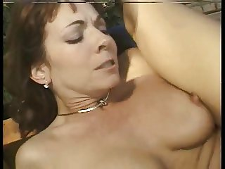Horny mature anal by the pool