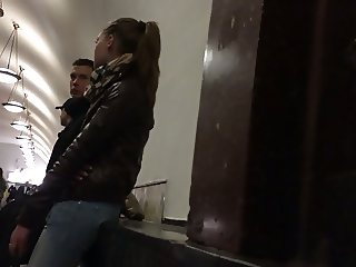 Public cumshot on girls leather jacket