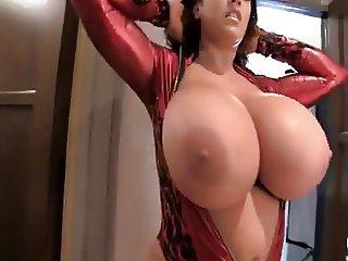 Leanne Huge Natural Tits Red Devil