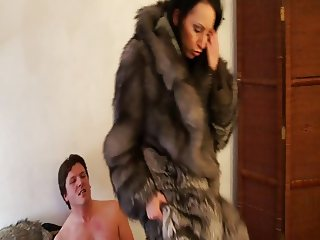 Hot Brunette gets fucked in fur 2