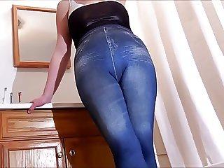spandex angel in legging jeans