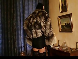 Hot Brunette in silver fox fur coat