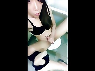 Long legs CD jerk in public toilet CUM loads of juice