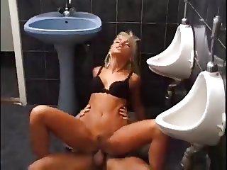 Bitch blonde fucking a strange in a restaurant