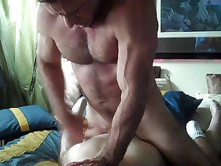 Verbal big dicked muscle daddy fucks a young twink boy