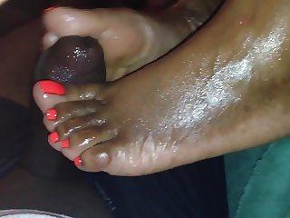 Ebony footjob