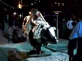 chick flashes her ass on a bull (no panties)