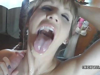 Horny housewife Jolene is going down on a stiff cock