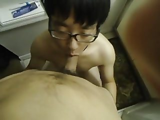 Chinese cock sucker takes it all