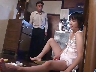 Hot mom,  Aoba Itou, kneels to suck on a younger cock