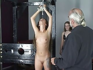 Master Len loves watching his beautiful brunette slave girls whip and torture