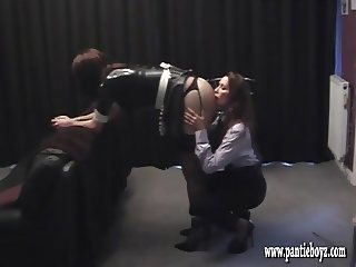 Mistress gives sexy latex pantie maid a good ass spanking