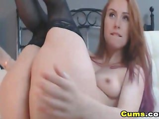 Stunning Redhead Teen Close Up Dildo Pussy Masturbation
