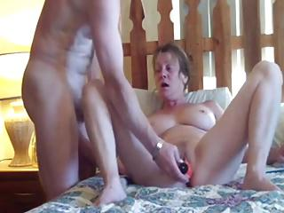 Horny mature slutwife loves both holes