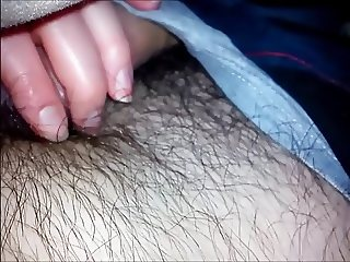 Handjob under blankets