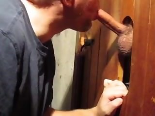 Swallowing neighbor college boys seed at the glory hole