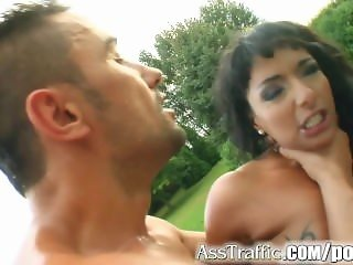 Ass Traffic Massive clit girl gets ass fucked hard and swallows