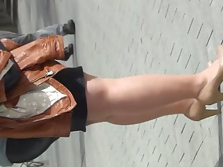 big chunky nylon legs on street
