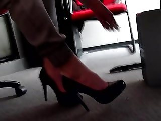 dangling her high heels under desk (part 2)