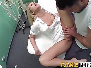 Blonde nurse lets her patient to fuck her as he wants to