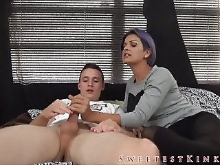 Jerked and Fed by not Step-sister TABOO HANDJOB CEI JOI