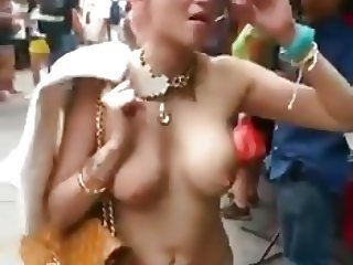 Crazy girl tries to scare people by exposing her hot tits