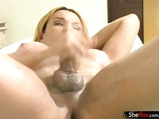 Chubby blonde tgirl plays with her tasty shecock and bigtits