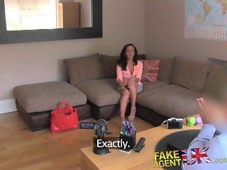 FakeAgentUK Smoking hot brunette crawls under desk to suck agents cock