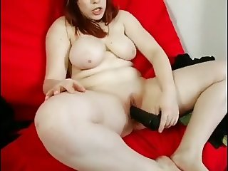 Nympho Fat Chubby Teen GF loves to play with big black dildo