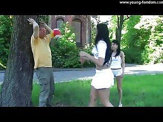 2 Amateur Girls in Femdom Action Outdoor in High Heels