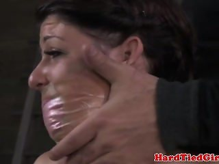 Gagged sub gets nipple punished