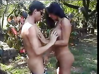 Busty tranny gets laid outdoor 2