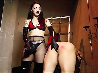 Mistress merciless ass fucking with gigantic strapon