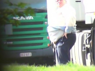 Fat Trucker Caught Pissing