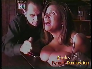 Busty brunette tries out total submission for the first time