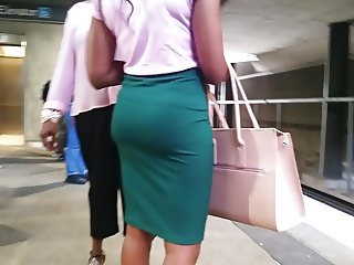 Perfect ass in tight skirt