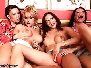 Horny tranny girlfriends fuck their asses in wild foursome