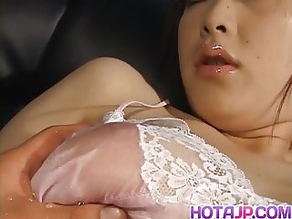 Kasumi Uehara has lace lingerie cut over twat