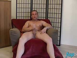 Horny dude Angelo wanks his cock until jizz exploded