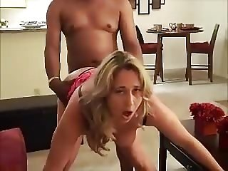Wife looks at hubby as she takes her first BBC