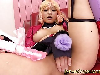 Fantasy cosplay babe masturbates with toy
