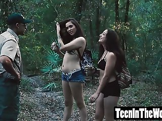 Sophia Lucille hiking in the woods and getting a drilling
